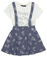George Slogan T-Shirt and Pinafore Dress Set