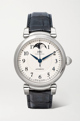 IWC SCHAFFHAUSEN - Da Vinci Automatic Moon Phase 36mm Stainless Steel And Alligator Watch - Silver