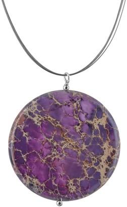 Ashanti Lilac Jasper Round Gemstone Stainless Steel Handmade Necklace