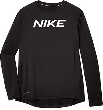 Nike Kids Pro Long Sleeve Fitted Top (Big Kids) (Black/White) Boy's Long Sleeve Pullover