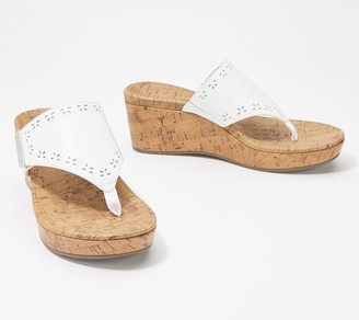 Vionic Leather Platform Toe Post Sandals - Anitra