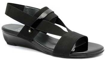 "Stuart Weitzman Heretostay"" Black Patent Leather & Elastic Wedge Sandal"