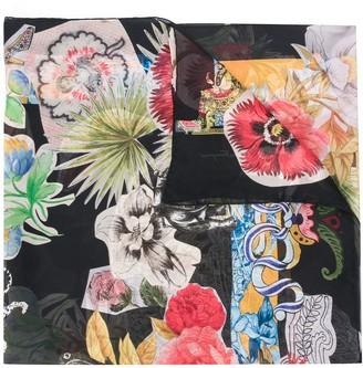 Salvatore Ferragamo Sheer Floral-Print Silk Scarf