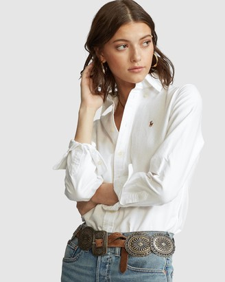 Polo Ralph Lauren Women's White Shirts & Blouses - Slim Fit Washed Cotton Oxford Shirt - Size XS at The Iconic