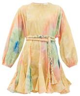 Rhode Resort Ella Belted Tie-dye Cotton Mini Dress - Womens - Multi
