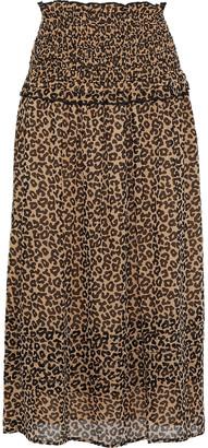 Sea Lottie Ruffle-trimmed Leopard-print Georgette Midi Skirt