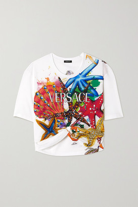 Versace - Cropped Embellished Printed Cotton-jersey T-shirt - White