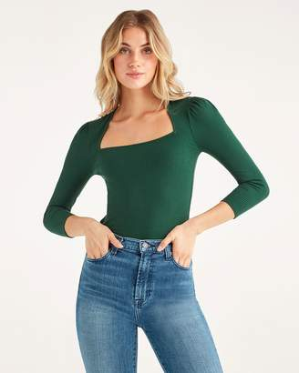 7 For All Mankind 3/4 Sleeve Square Neck Top in Dark Green