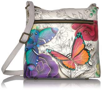 Anuschka Anna By Anna by Genuine Hand Painted Leather | Large Crossbody | Floral Paradise