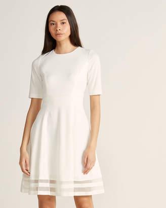Calvin Klein Cream Fit & Flare Illusion Border Dress