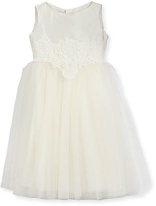 Isabel Garreton Enchanting Lace-Trim Silk & Tulle Dress, Size 7-10