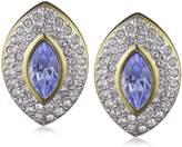 Jean Pierre 9542 Rub Over Swarovski Crystal Brass Stud Earrings