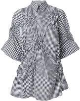 Simone Rocha ruched asymmetric shirt - women - Cotton - 6