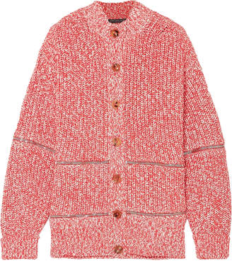 Alexander McQueen Zip-detailed Cotton And Wool-blend Cardigan