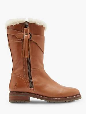 Joules Finchdale Block Heel Calf Boots, Tan Leather