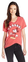 Disney Juniors Mickey Verbiage Cotton Polyester Blend Burnout Vneck Graphic Tee