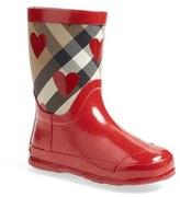 Burberry Toddler Girl's 'Ranmoor' Heart Print Rain Boot