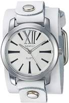 Nemesis Women's WGB065W Exclusive Collection Roman White Leather Cuff Watch
