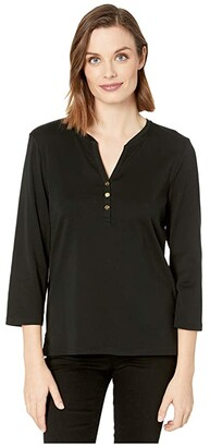 Lauren Ralph Lauren Stretch Henley Tee (Polo Black) Women's Clothing