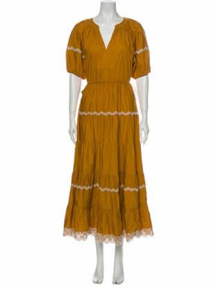 Ulla Johnson V-Neck Long Dress Yellow