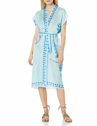 Gottex Women's Short Sleeve Belted Kimono Wrap Swimsuit Cover Up