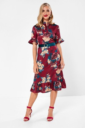 Iclothing iClothing Emerson Floral Midi Dress in Wine