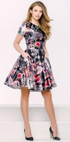 Jovani Multi Color Floral Fit and Flare Cocktail Dress