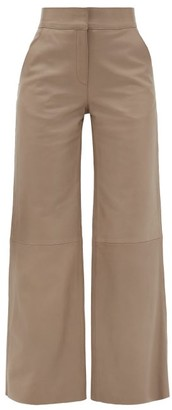 Stand Studio Megan Leather High-rise Trousers - Womens - Light Grey