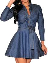 WINSON Women Single-Breasted Denim Shirt Long Sleeve Short Dress Party Clubwear + Belt