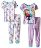 Disney Big Girls Frozen Sisters Cold Weather, Warm Hearts 4-Piece Pajama Set
