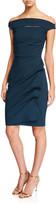 Chiara Boni Off-the-Shoulder Cap-Sleeve Cocktail Dress w/ Front Cutout