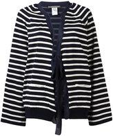 Alberta Ferretti striped tie-fastening cardigan - women - Silk/Cotton - 46