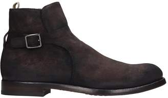 Officine Creative Tempus High Heels Ankle Boots In Brown Suede