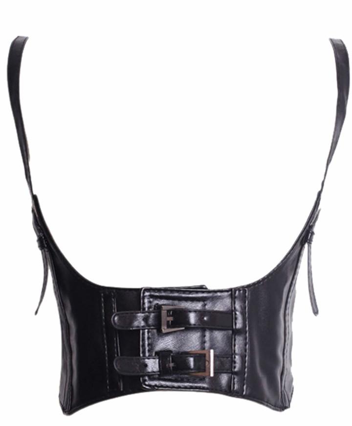 L UK 12 Bslingerie/® Womens Faux Leather Corset Top , Black Underbust