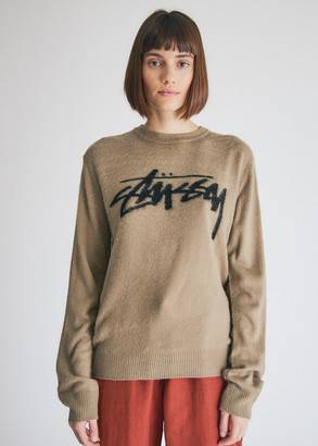 Stussy Women's Brushed Out Logo Sweater in Taupe, Size Extra Small