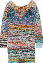 Missoni Oversized Mélange Cashmere And Wool-blend Sweater Dress - Blue