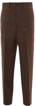 Marni Pinstriped Wool Trousers - Mens - Orange Multi