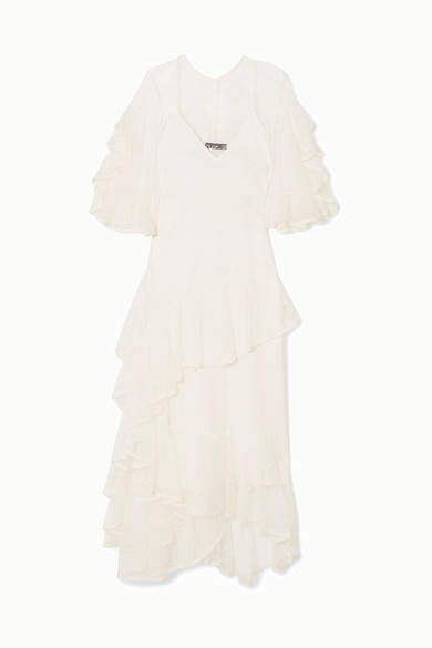 Ellery Salon Ruffled Lace Gown - Ivory