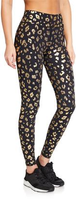 Terez Gold Cheetah Foil Printed Tall Band Leggings