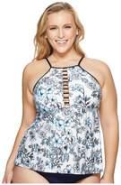 Athena Plus Size Garden Party Fly-Away High Neck Tankini Women's Swimwear