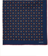 Gucci Men's Geometric Medallion Silk Pocket Square