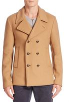 Tomas Maier Double Breasted Wool Blend Peacoat