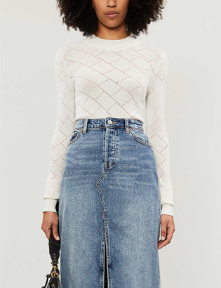 Free People Whats The Pointe diamond-pattern stretch-knit body