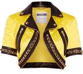 Moschino Cropped Chain-Trimmed Quilted Satin Jacket