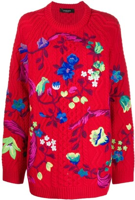 Versace Floral-Embroidered Cable Knit Jumper