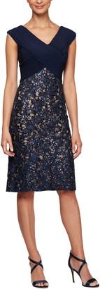 Alex Evenings Pleat & Sequin Lace Cocktail Dress