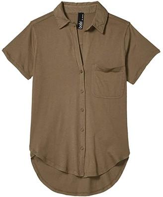 bobi Los Angeles Short Sleeve Button-Down Shirt in Lightweight Jersey (Brigade) Women's Clothing