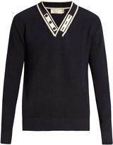 MAISON KITSUNÉ V-neck ribbed-knit wool sweater