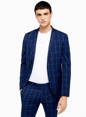 TopmanTopman Navy Super Skinny Fit Windowpane Check Single Breasted Blazer With Notch Lapels