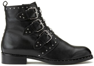 Cosmo Paris Galiana Leather Pointed Boots with Buckle Detail
